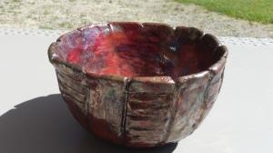 bol turquoise avec virage à effet cuivre métallisé